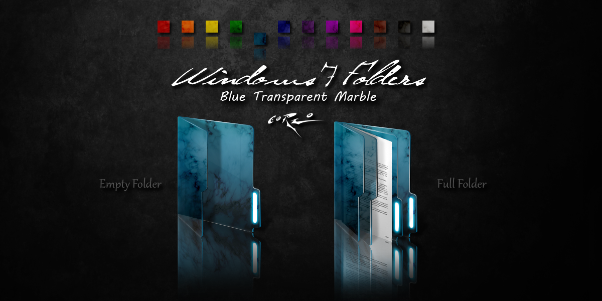 Transparent Windows 7 folder icons with marble like effect