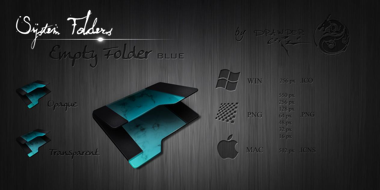 Blue Empty Folder Icon by Drawder