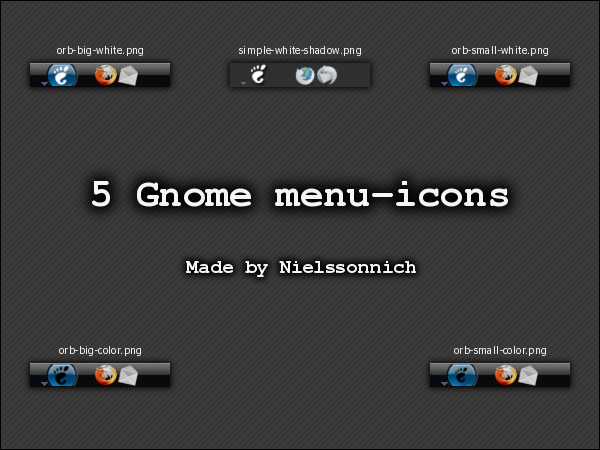 5 Gnome menu-icons by Nielssonnich