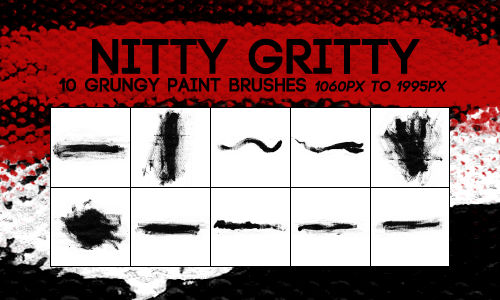 NITTY GRITTY -- 10 Large Grungy Paint Brushes