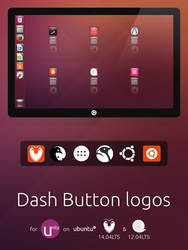Unity Dash Button logos: Ubuntu 14.04 and 12.04LTS by HEXcube