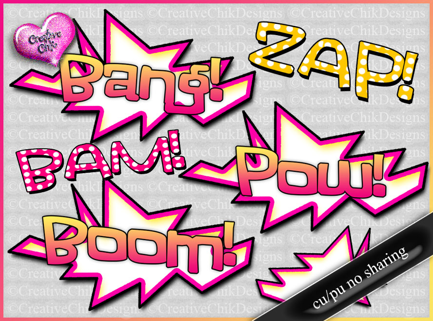 FTU- Bang! Pow! Boom! Word Art Pack by MystYHaZe21