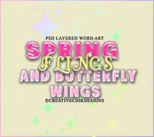 Spring Flings and butterfly wings wordart