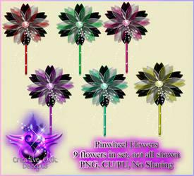 Pinwheel Flowers- PNG Pack