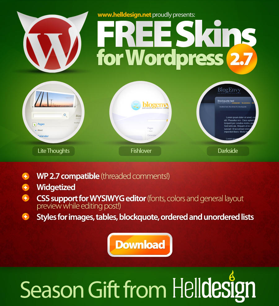 FREE Skins for WordPress v2.7 by voogee