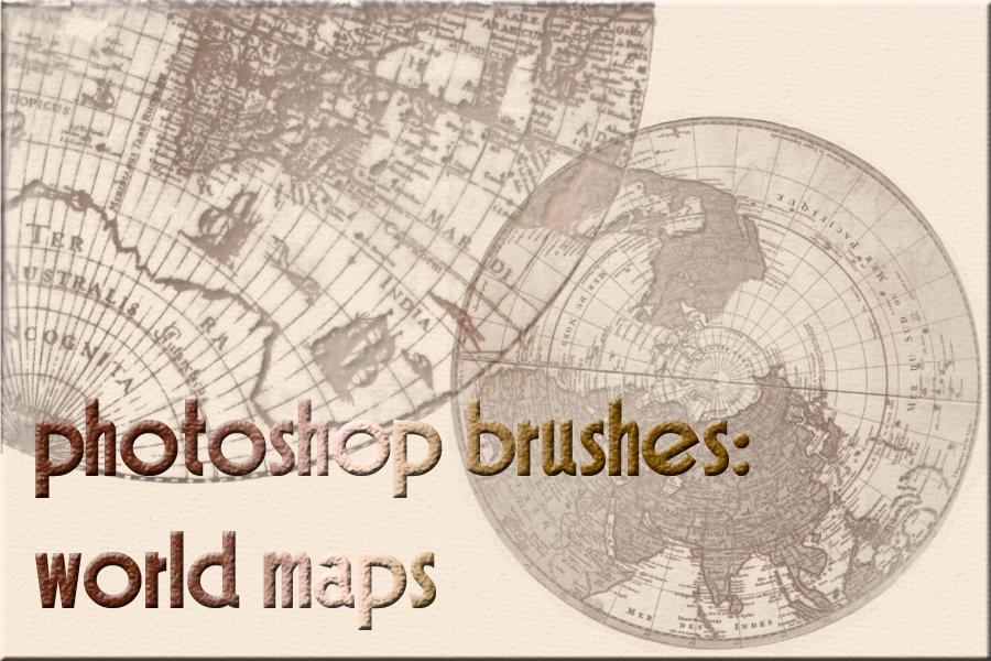 photoshop brushes: world maps