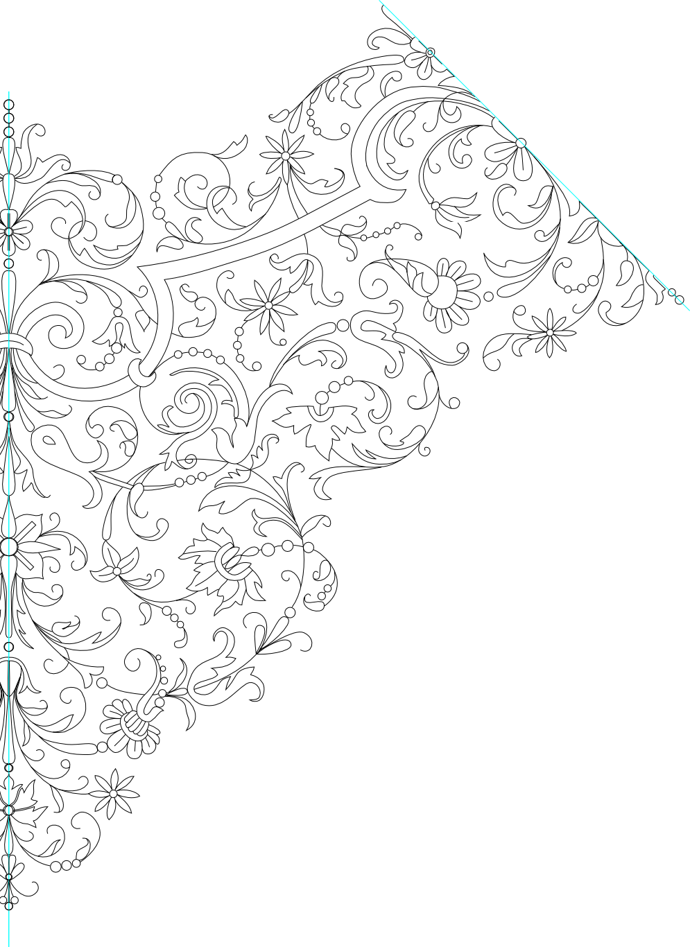 Handkerchief Embroidery Pattern Lineart by Kithplana on