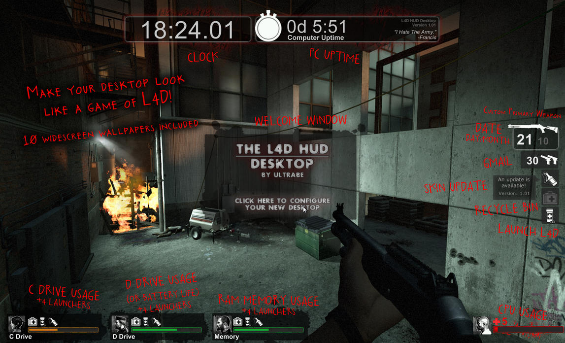 The Left 4 Dead HUD Desktop by UltraBE