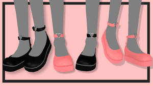 MMD Black and Pink Heart Shoes ~DL!~