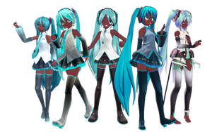 Black Miku Set by DesertDraggon