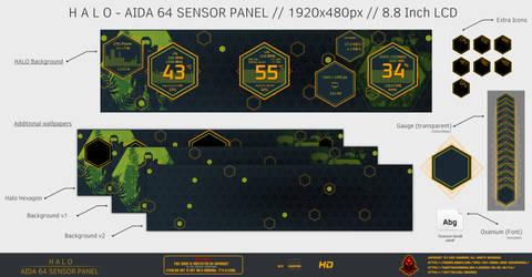 Halo - Aida64 Sensor Panel (1920x480) by Exhumed