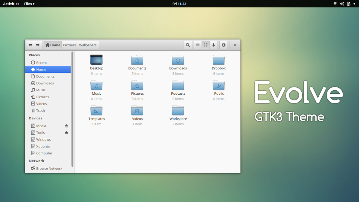 how to install the Evolve GTK Theme on Ubuntu 14.04 Trusty Tahr, Ubuntu 13.10 Saucy Salamander, Ubuntu 13.04 Raring Ringtail, Ubuntu 12.10 Quantal Quetzal, Ubuntu 12.04 Precise Pangolin, Linux Mint 16 Petra, Linux Mint 15 Olivia, Linux Mint 14 Nadia, Linux Mint 13 Maya, Pear OS 8, Pear OS 7 and Elementary OS 0.2 Luna.