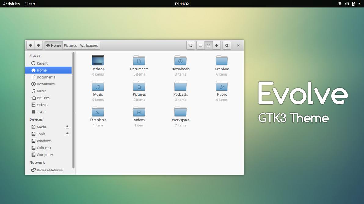 how to install the Evolve GTK Theme on Ubuntu 14.04 Trusty Tahr, Ubuntu 13.10 Saucy Salamander, Ubuntu 13.04 Raring Ringtail, Ubuntu 12.10 Quantal Quetzal, Ubuntu 12.04 Precise Pangolin, Linux Mint 16 Petra, Linux Mint 15 Olivia, Linux Mint 14 Nadia, Linux Mint 13 Maya, Pear OS 8, Pear OS 7 and Elementary OS 0.2 Luna.