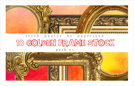 Stock Pack 01: Golden Frames by PaperJunk