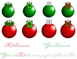 red and green ornaments stock by Hermit-stock