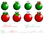 red and green ornaments stock