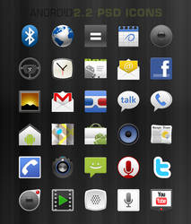 PSD Android 2.2 Native Icons by mikecent
