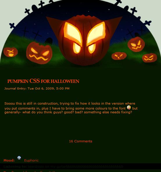 Animated Halloween pumpkin CSS by calleena