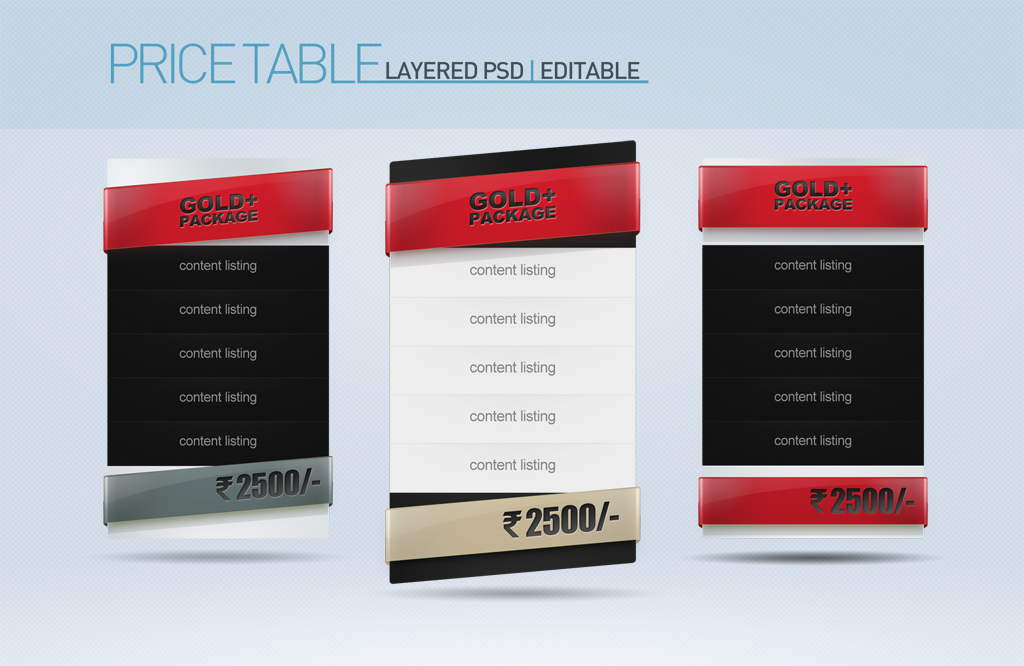 Price Table Set of 3 PSD