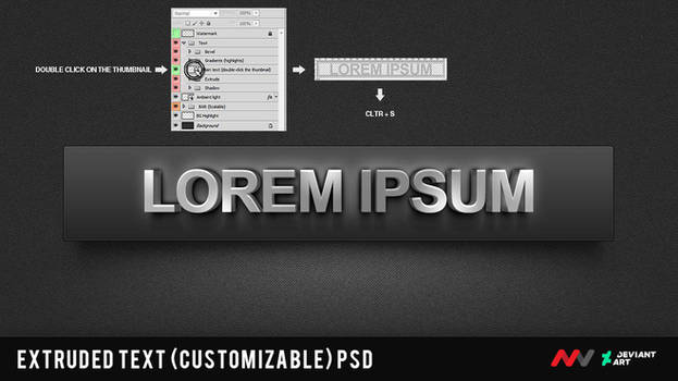 Extruded text - Smart Object - PSD