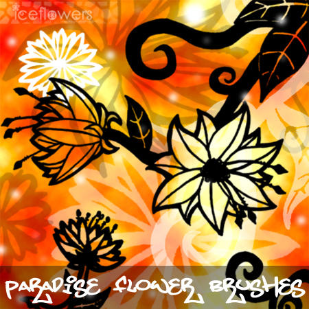 Paradise Flower Brushes by Aka-Joe