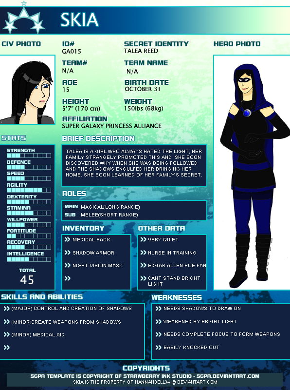 Young justice OC Skia