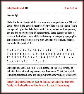 Font: SILKY WONDERLAND - free by jelloween