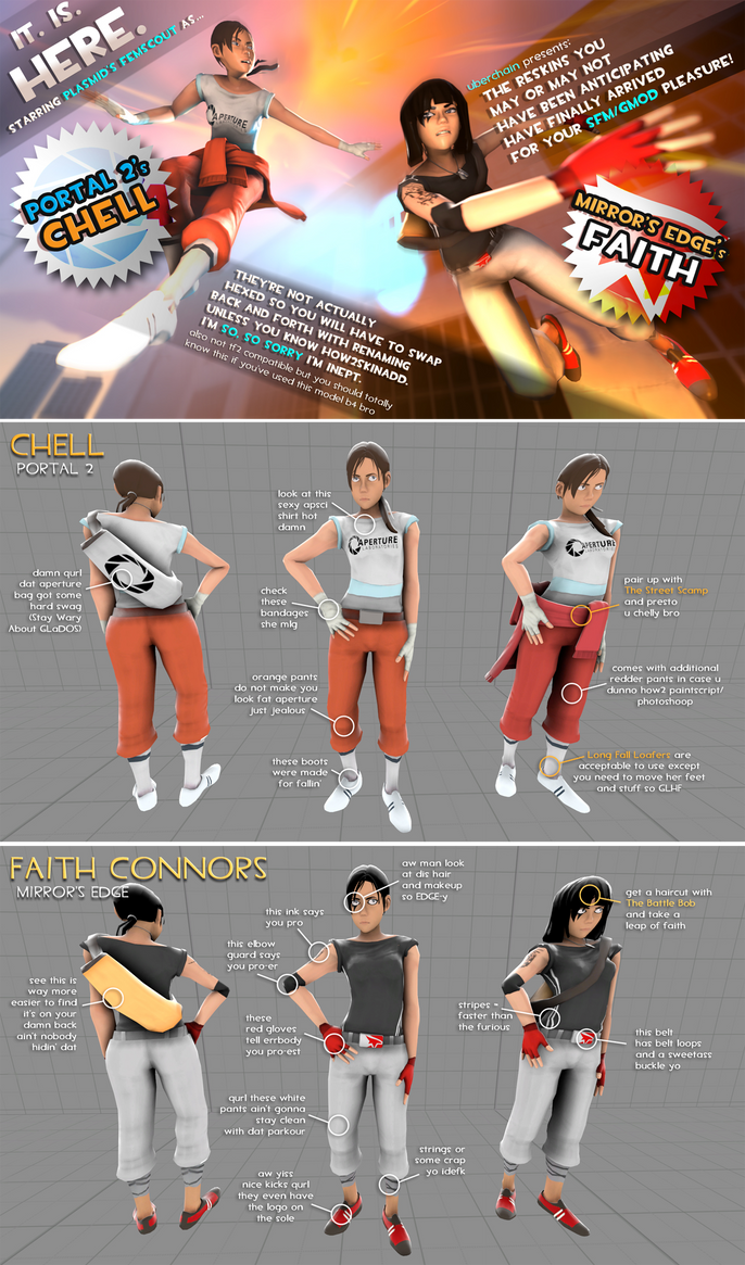 Chell and Faith Femscout Reskins v.1 by uberchain