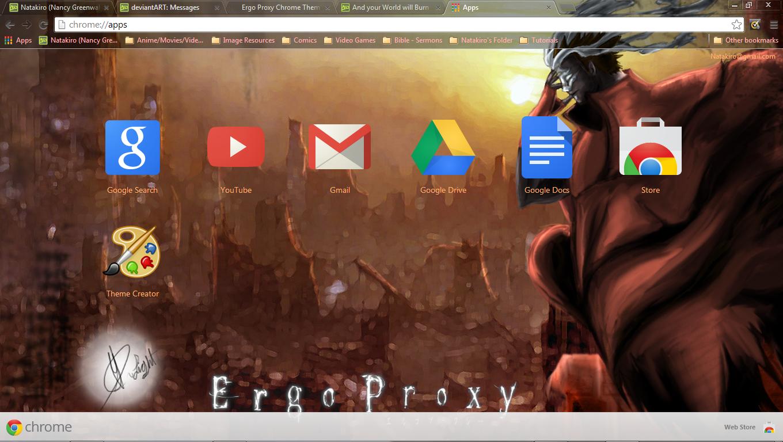 Google chrome themes video games - Natakiro 5 0 Ergo Proxy Chrome Theme V2 1360x768