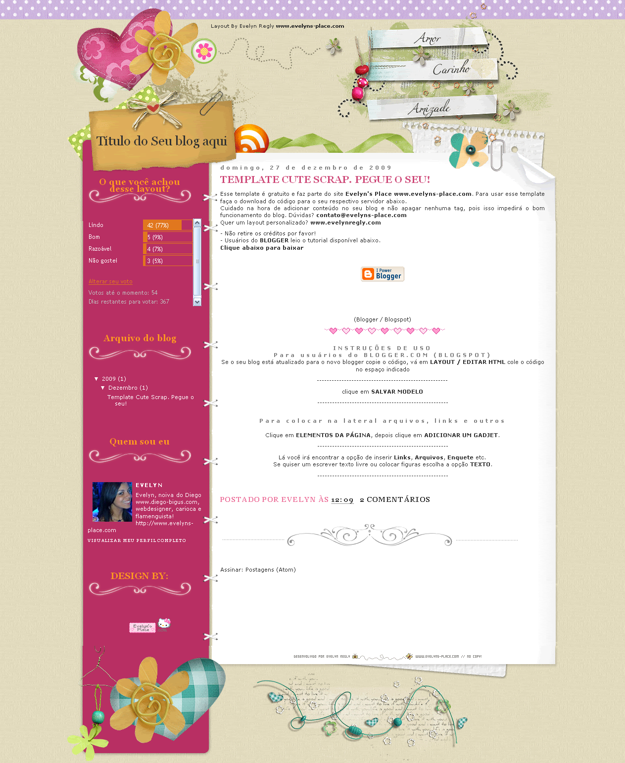 Cute Srap Free Layout Blogger by EvelynRegly on DeviantArt
