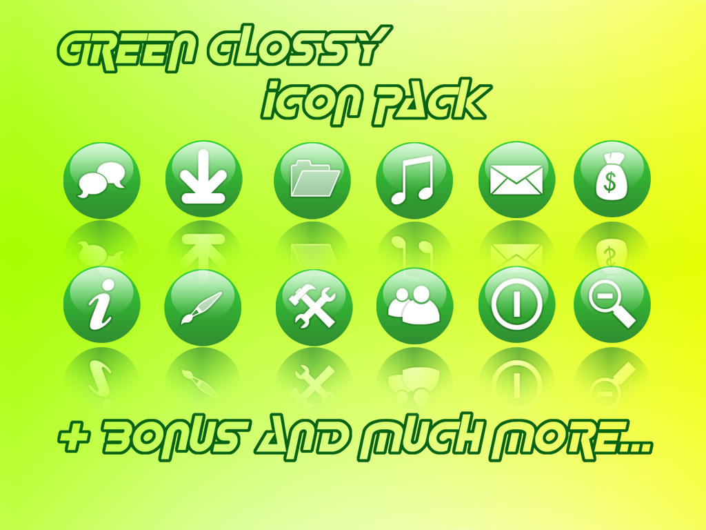 Green Glossy Icon Pack by kampongboy92