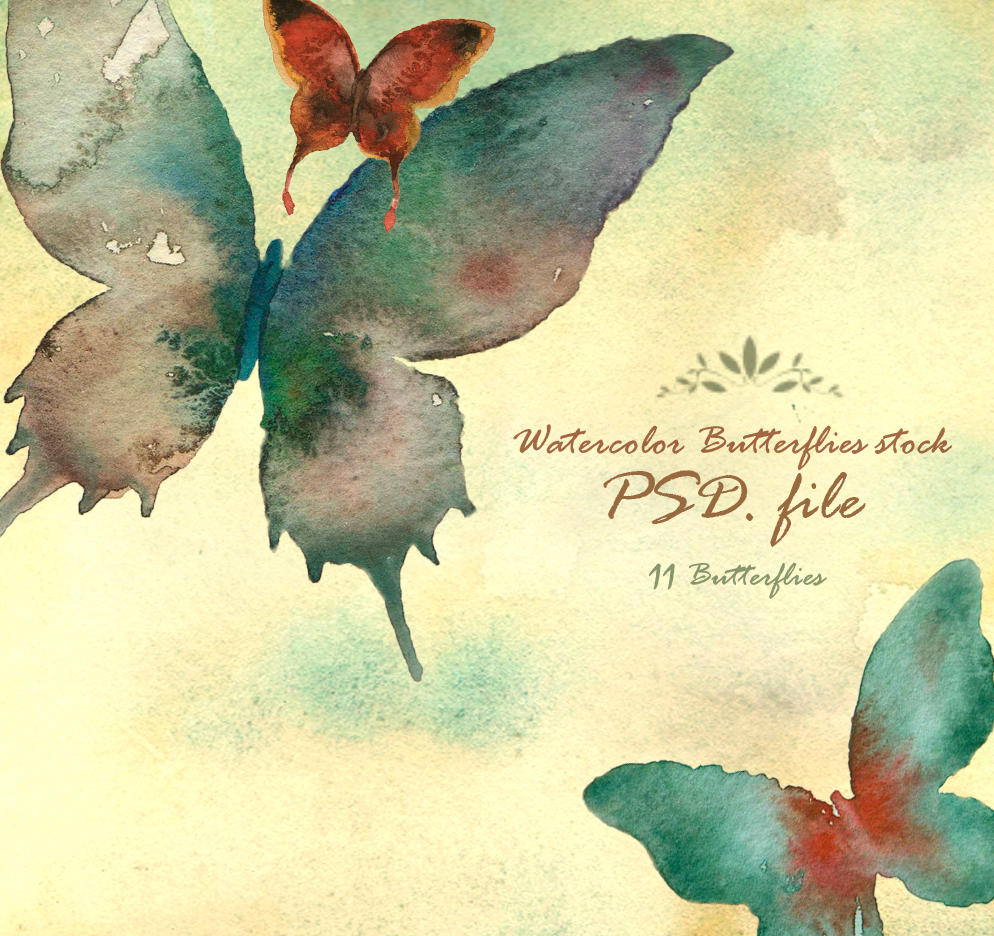Watercolor butterflies stock by Arsmara