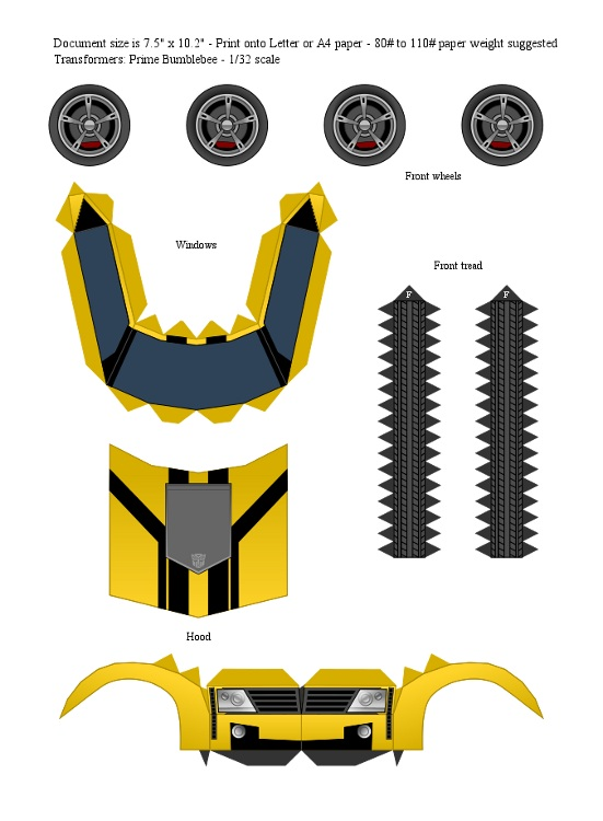 TFP Bumblebee (Yellow) Papercraft - Template by ProjectKITT on