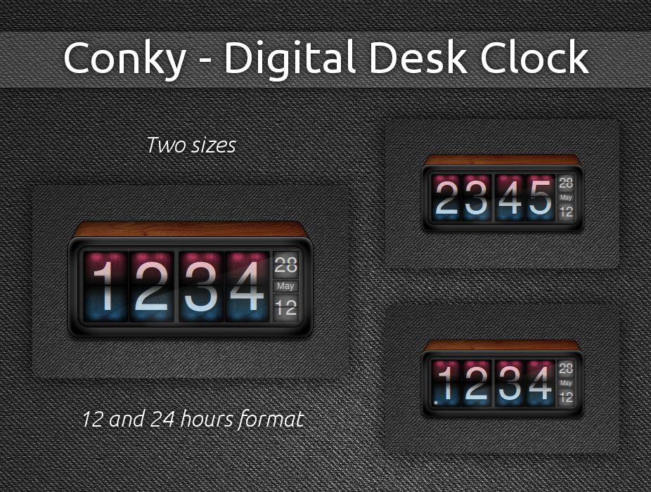 Digital Desk Clock for Conky by pabloferz