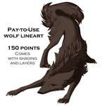 [p2u] Wolf lineart