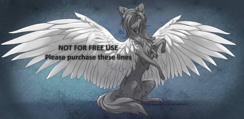 [p2u] Winged Wolf Lineart