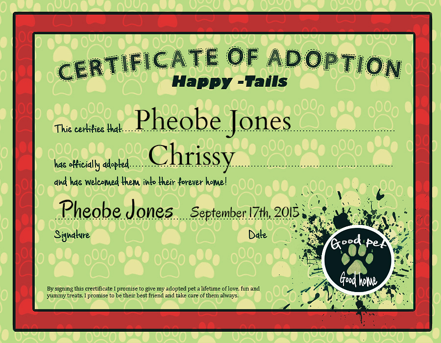 Chrissys Adoption Certificatehp By Hornets N Tribes On Deviantart