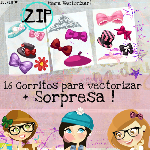 Pack de Gorritos ojos y etc para Vectorizar! [ZIP] by JuuhLii