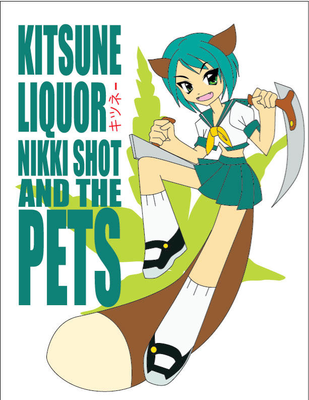 kitsune liquor tshirt design by Shayeragal