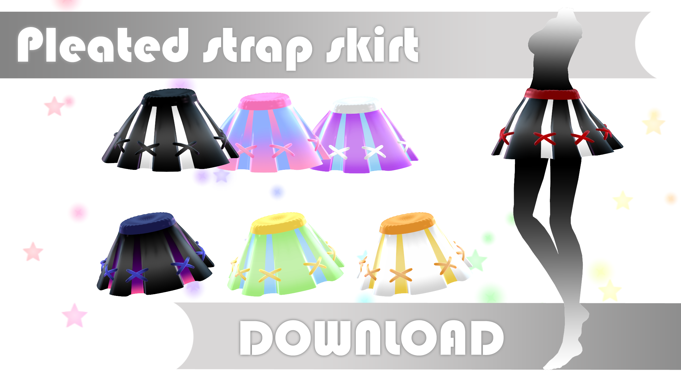 Pleated strap skirt DOWNLOAD dl for MMD