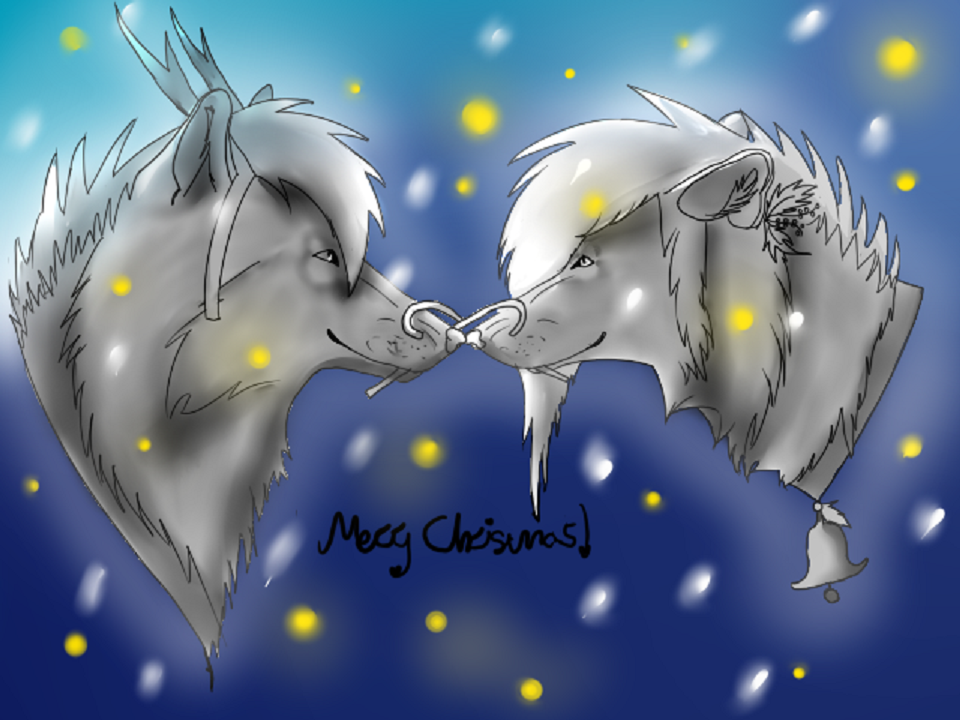 Free Christmas Love Linart+Shading+BG :3 by WolfSoulKeeper