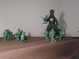 godzilla and the army men by Nimril