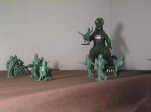 godzilla and the army men