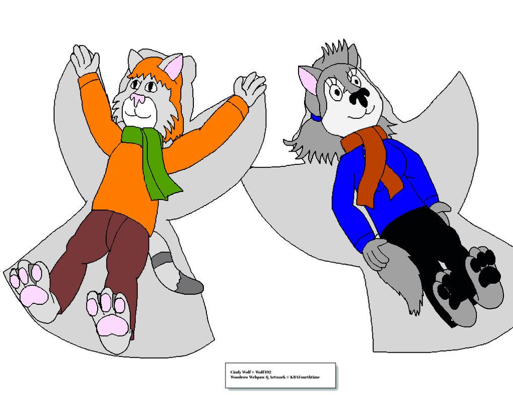 Woodrow And Cindy S Snow Angels Trade Colored by Wolf492