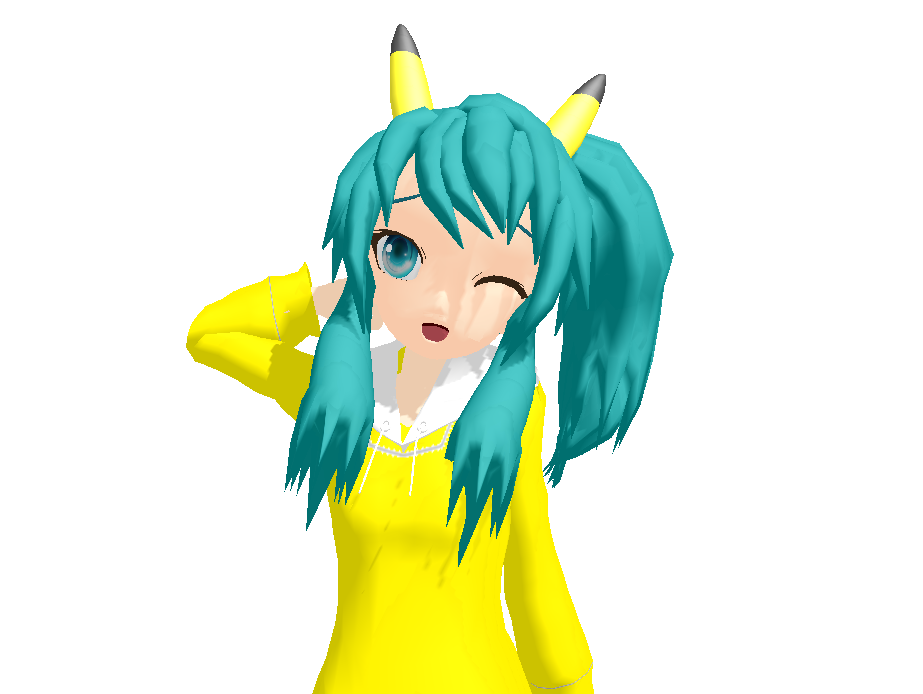 MMD Chibi Pikachu Miku DOWNLOAD By VocaloidxMMDMiku