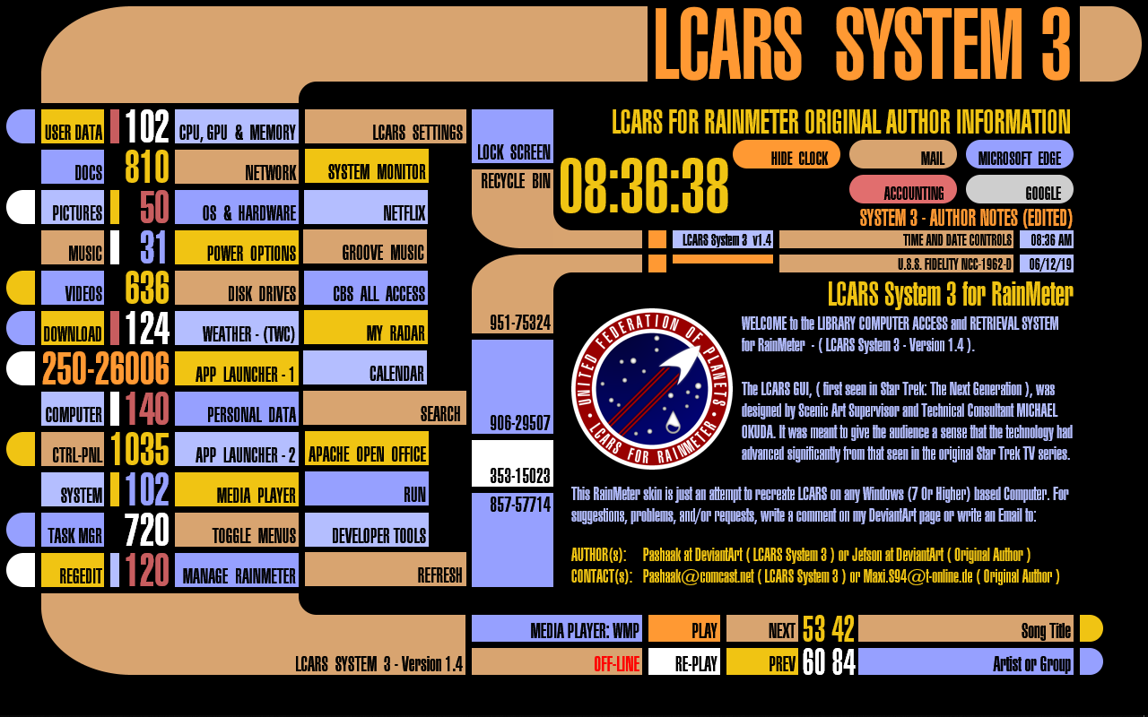 LCARS SYSTEM 3 Version 1 4 for RainMeter by pashaak on