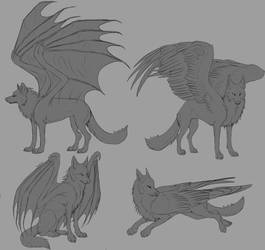 Free Winged Wolf Linearts