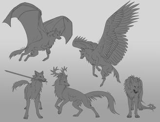 FREE Fantasy Wolf Pack Linearts by Aviaku