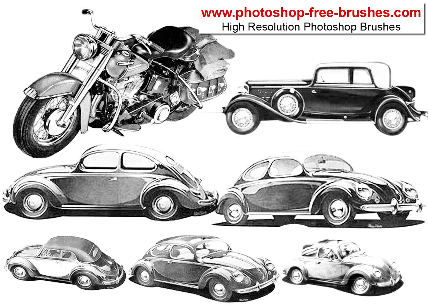Old Cars and Bike Photoshop Brushes