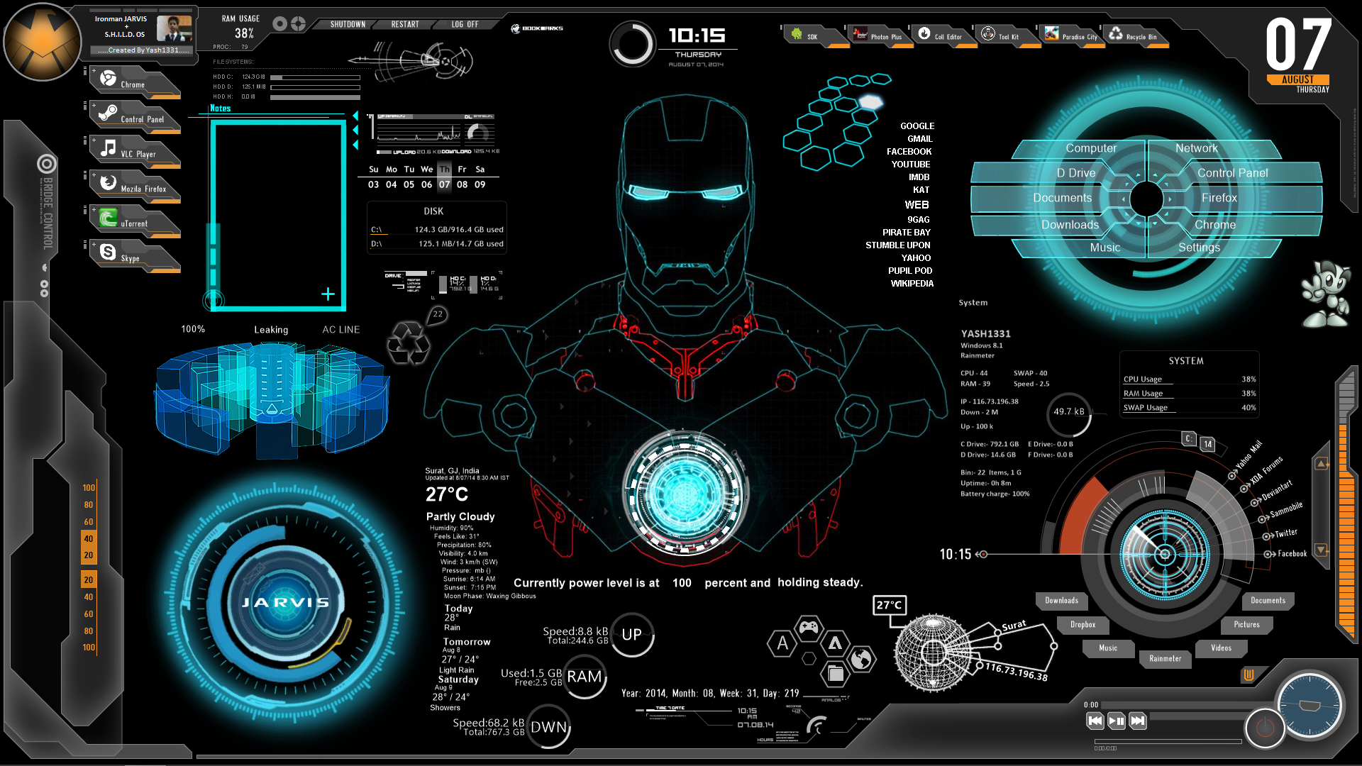 Iron man computer interface wallpaper for Deviantart rainmeter